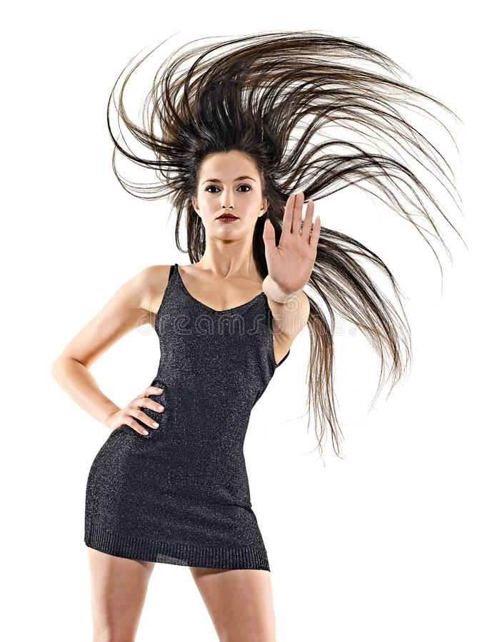 Νέα γυναικών disco ευτυχής διασκέδαση υποβάθρου χορευτών χορός απομονωμένη άσπρη στοκ φωτογραφίες με δικαίωμα ελεύθερης χρήσης