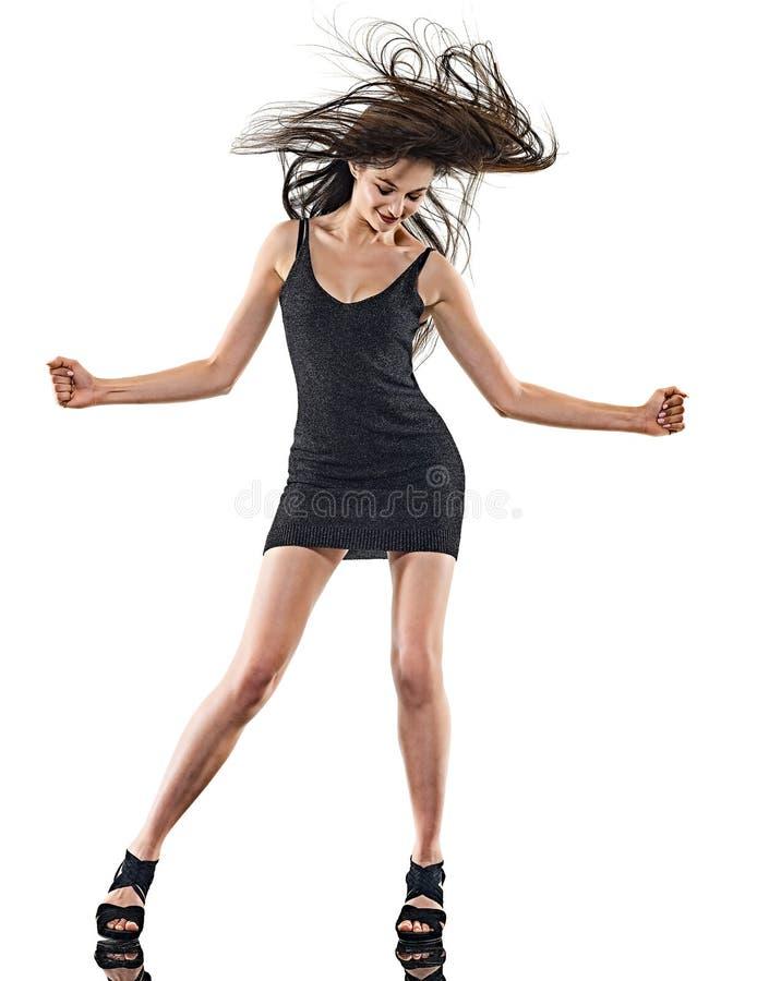 Νέα γυναικών disco ευτυχής διασκέδαση υποβάθρου χορευτών χορός απομονωμένη άσπρη στοκ φωτογραφία με δικαίωμα ελεύθερης χρήσης