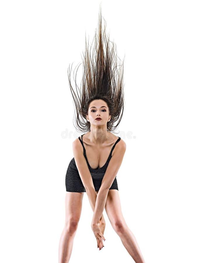 Νέα γυναικών disco ευτυχής διασκέδαση υποβάθρου χορευτών χορός απομονωμένη άσπρη στοκ εικόνα