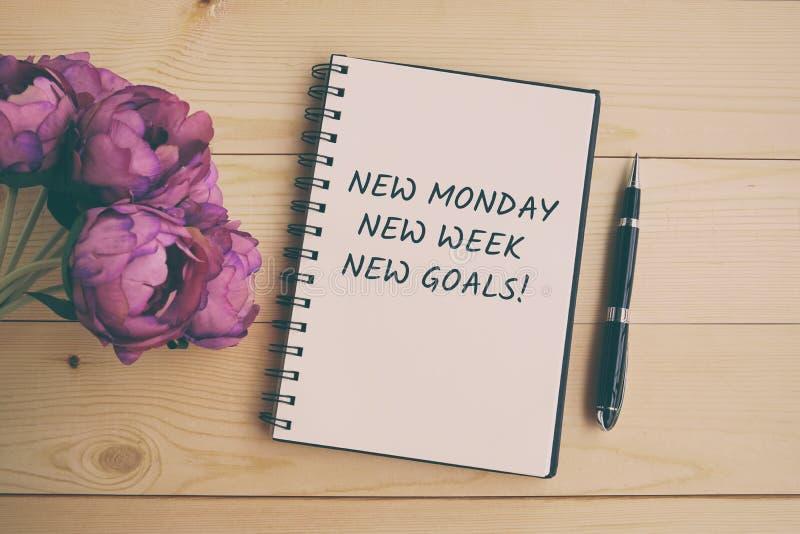 Νέα Δευτέρα, νέα εβδομάδα, νέο απόσπασμα στόχων στοκ εικόνες