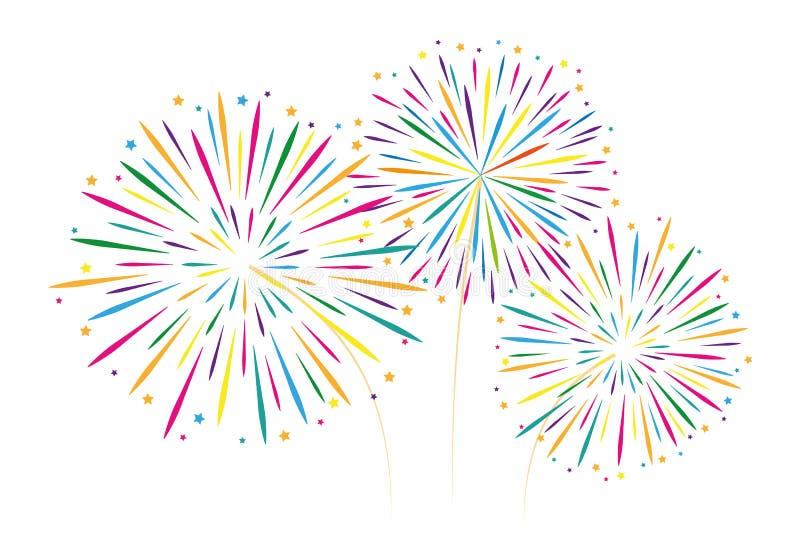 Νέα διακόσμηση πυροτεχνημάτων έτους ζωηρόχρωμη που απομονώνεται στο άσπρο backgro διανυσματική απεικόνιση