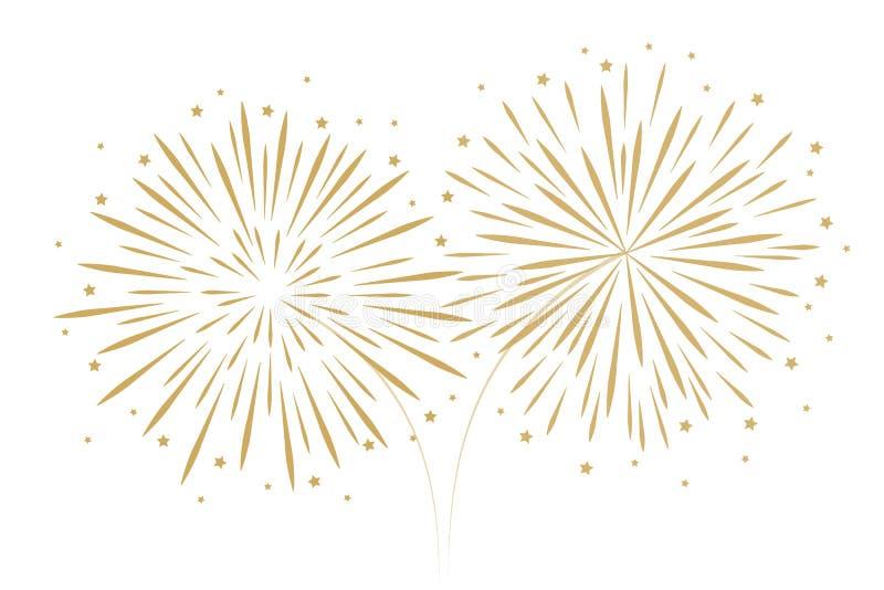 Νέα διακόσμηση πυροτεχνημάτων έτους που απομονώνεται στο άσπρο υπόβαθρο διανυσματική απεικόνιση