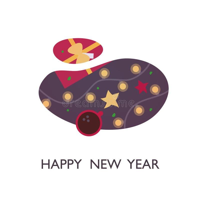 Νέα διακόσμηση υποβάθρου εορτασμού διακοπών σχεδίου απεικόνισης έτους έτους επίπεδη διανυσματική ευτυχής ελεύθερη απεικόνιση δικαιώματος
