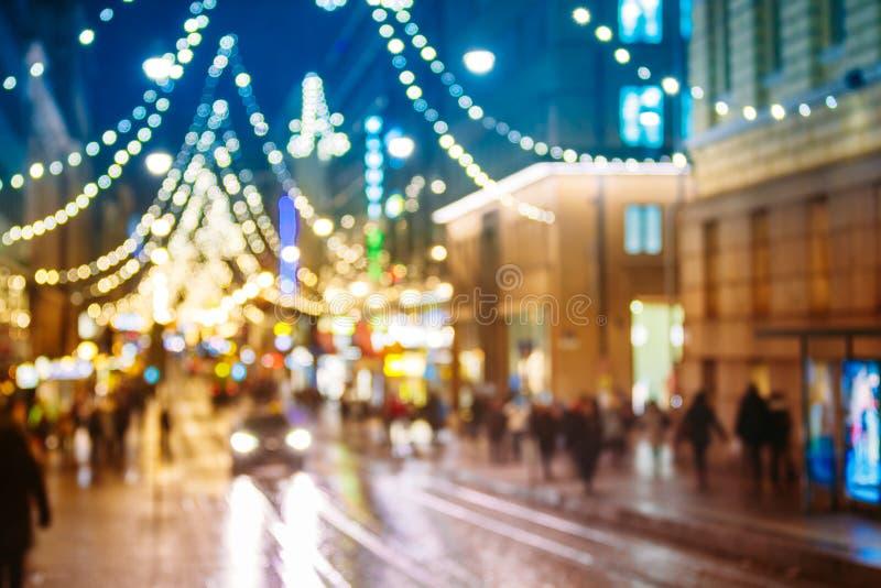Νέα διακόσμηση χριστουγεννιάτικων δέντρων Χριστουγέννων φω'των Boke έτους και εορταστικός στοκ φωτογραφία