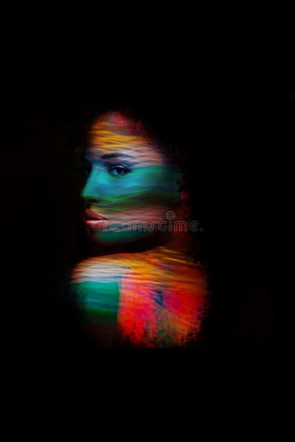 Νέα διπλή έκθεση πορτρέτου φαντασίας γυναικών στοκ φωτογραφίες