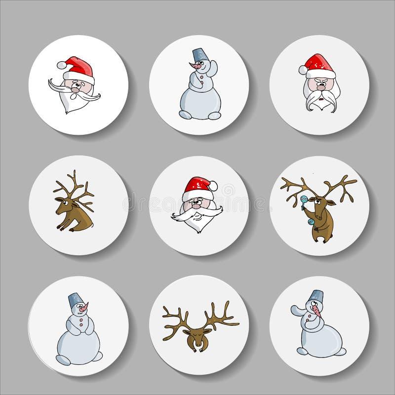 Νέα εικονίδια Χριστουγέννων έτους με ένα ελάφι, Άγιος Βασίλης διάνυσμα απεικόνιση αποθεμάτων