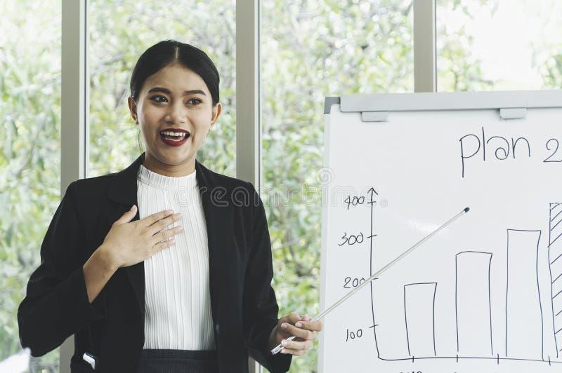Νέα ελκυστική επιχειρηματίας που παρουσιάζει παρουσίαση στοκ εικόνα