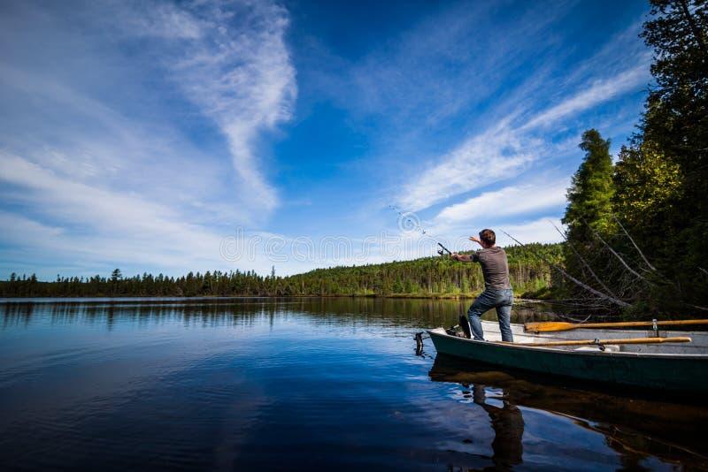 Νέα ενήλικη πέστροφα αλιείας σε μια ήρεμη λίμνη στοκ εικόνα
