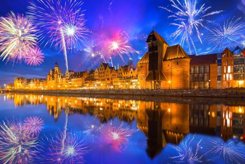 Νέα επίδειξη πυροτεχνημάτων ετών στο Γντανσκ, Πολωνία στοκ φωτογραφία