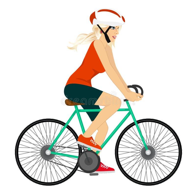Νέα επαγγελματική γυναίκα ποδηλατών ελεύθερη απεικόνιση δικαιώματος