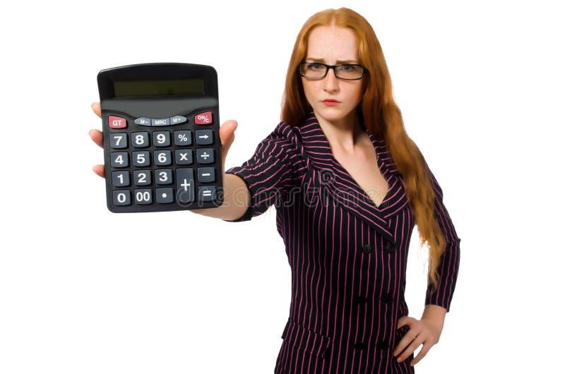 Download Νέα επιχειρηματίας με τον υπολογιστή στο λευκό Στοκ Εικόνες - εικόνα από εξαπάτηση, brok: 62709000
