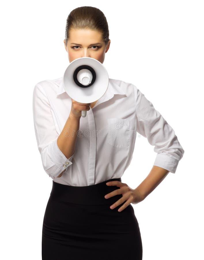 Νέα επιχειρηματίας με megaphone στοκ φωτογραφίες με δικαίωμα ελεύθερης χρήσης
