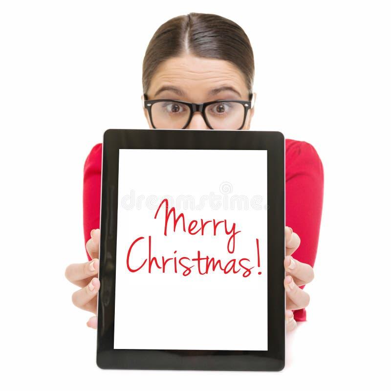 Νέα επιχειρηματίας που επιθυμεί τη Χαρούμενα Χριστούγεννα στοκ φωτογραφία με δικαίωμα ελεύθερης χρήσης