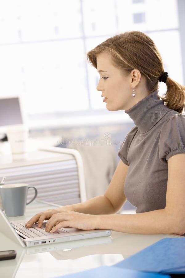 Νέα επιχειρηματίας που χρησιμοποιεί το lap-top στοκ εικόνα