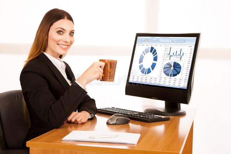 Νέα επιχειρησιακή γυναίκα με την κατανάλωση του καφέ στο γραφείο της στο γραφείο στοκ φωτογραφία με δικαίωμα ελεύθερης χρήσης