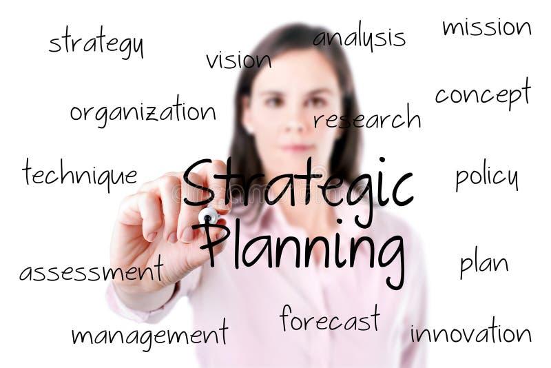 Νέα επιχειρησιακή γυναίκα που γράφει την έννοια στρατηγικού προγραμματισμού. στοκ εικόνα