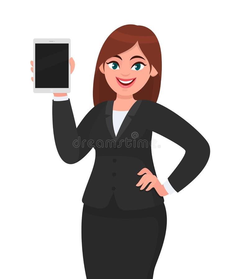 Νέα επιχειρησιακή γυναίκα που παρουσιάζει ή που κρατά κενή οθόνη ψηφιακός υπολογιστής ταμπλετών διαθέσιμος Θηλυκή απεικόνιση σχεδ διανυσματική απεικόνιση