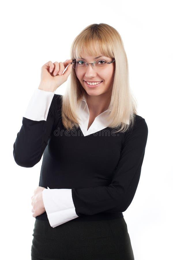 Νέα επιχειρησιακή γυναίκα στο γυαλί στοκ εικόνα με δικαίωμα ελεύθερης χρήσης