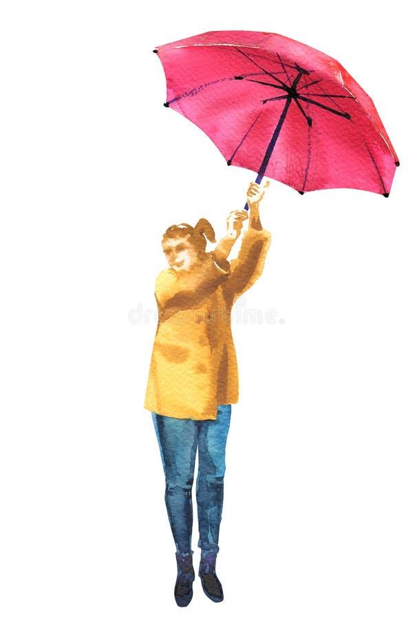 Νέα ευτυχής γυναίκα που κρατά τη ρόδινη ομπρέλα, πλήρες πορτρέτο μήκους, καιρική εποχή αέρα πτώσης φθινοπώρου, που απομονώνεται,  ελεύθερη απεικόνιση δικαιώματος