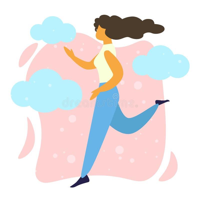 Νέα ευτυχής γυναίκα που τρέχει, άσκηση Jogging κοριτσιών απεικόνιση αποθεμάτων