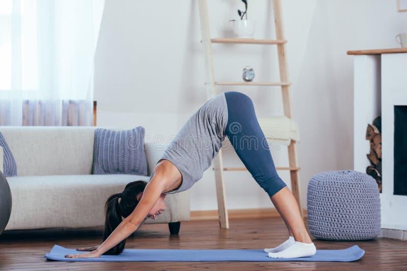 Νέα εύθυμη ελκυστική γιόγκα άσκησης γυναικών στοκ εικόνα με δικαίωμα ελεύθερης χρήσης
