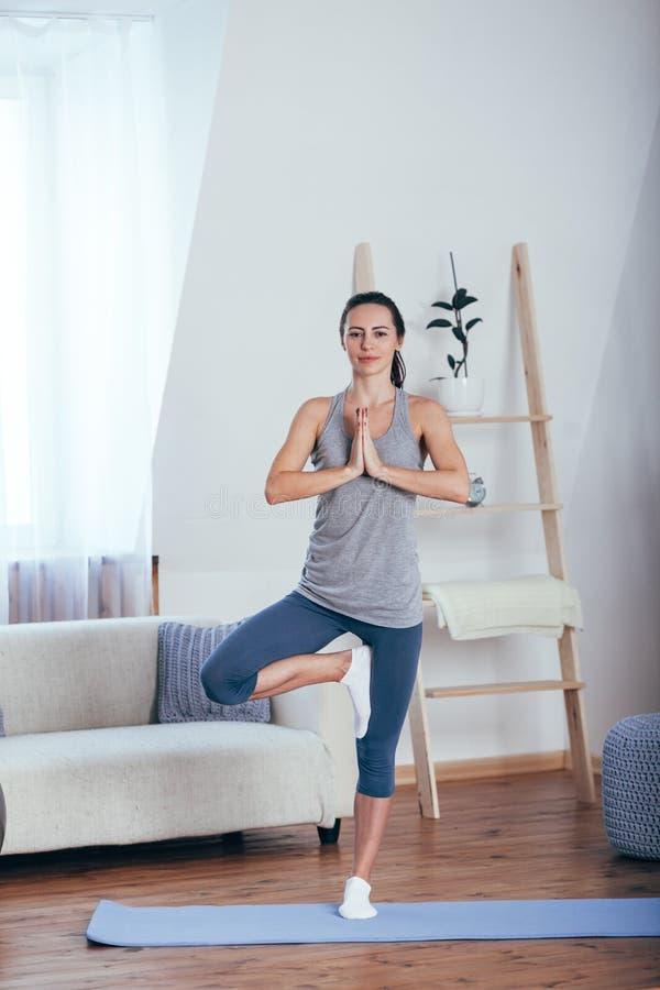 Νέα εύθυμη ελκυστική γιόγκα άσκησης γυναικών στοκ εικόνα