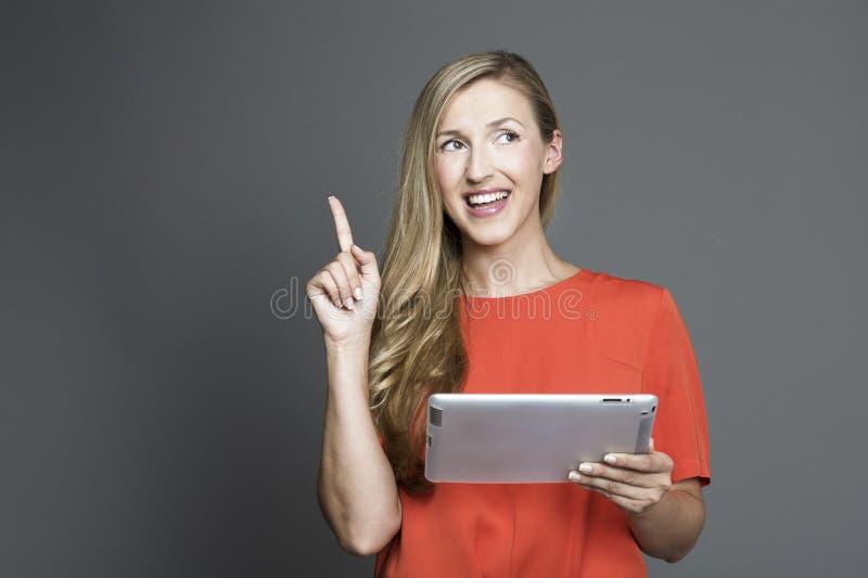 Νέα ελκυστική γυναίκα που έχει μια ιδέα στοκ φωτογραφίες με δικαίωμα ελεύθερης χρήσης