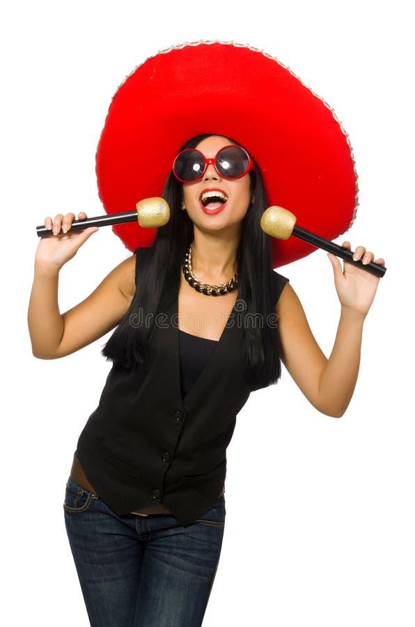 Download Νέα ελκυστική γυναίκα που φορά το σομπρέρο στο λευκό Στοκ Εικόνα - εικόνα από διασκέδαση, απομονωμένος: 62708947