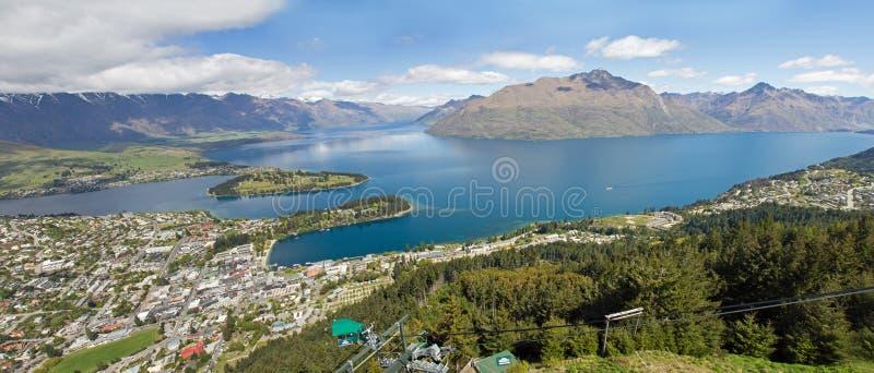 Νέα Ζηλανδία, queenstown με το wakatipu λιμνών στοκ εικόνα