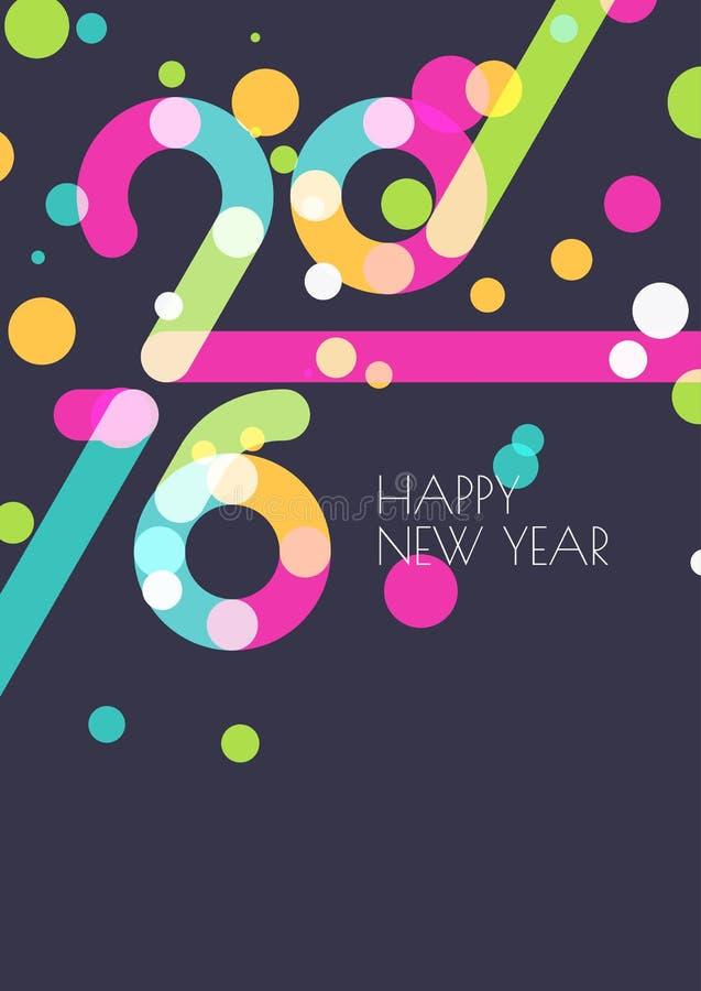 Νέα δημιουργική ευχετήρια κάρτα έτους 2016 Αφηρημένο ζωηρόχρωμο κομφετί απεικόνιση αποθεμάτων