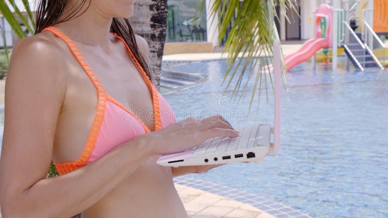 Νέα θηλυκή συνεδρίαση freelancer με το lap-top κοντά στη λίμνη Πολυάσχολος κατά τη διάρκεια των διακοπών Η έννοια της μακρινής ερ στοκ εικόνα