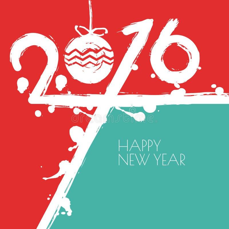 Νέα διανυσματική ευχετήρια κάρτα έτους 2016 με το κόκκινο και μπλε υπόβαθρο ελεύθερη απεικόνιση δικαιώματος