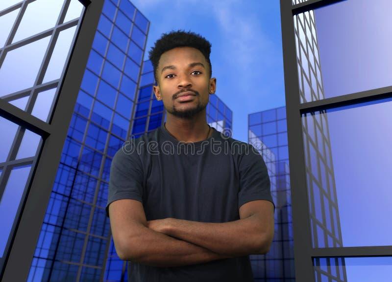 Νέα διασχισμένα επιχειρηματίας όπλα εργαζομένων γραφείων στο μπλε υπόβαθρο κτηρίων στοκ εικόνες