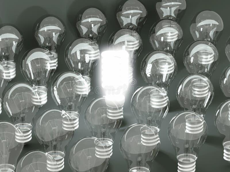 Νέα ιδέα ή εφεύρεση: φωτισμένος αποδοτικός βολβός μεταξύ παλαιών διανυσματική απεικόνιση