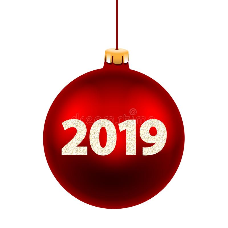 Νέα κάρτα έτους για το 2019 με την κόκκινη σφαίρα Χριστουγέννων διανυσματική απεικόνιση