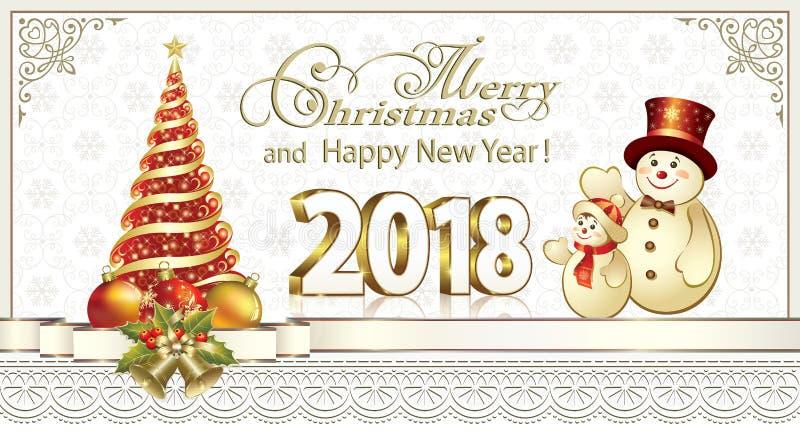 Νέα κάρτα 2018 έτους με ένα χριστουγεννιάτικο δέντρο και τους χιονανθρώπους απεικόνιση αποθεμάτων