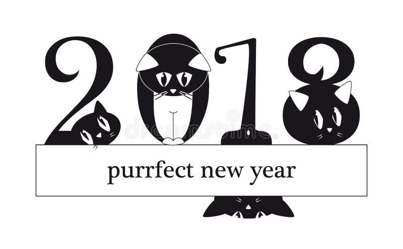 2018 νέα κάρτα έτους με τις αστείες γάτες ως ψηφία απεικόνιση αποθεμάτων