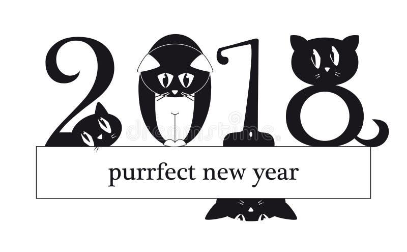 2018 νέα κάρτα έτους με τις αστείες γάτες ως ψηφία διανυσματική απεικόνιση