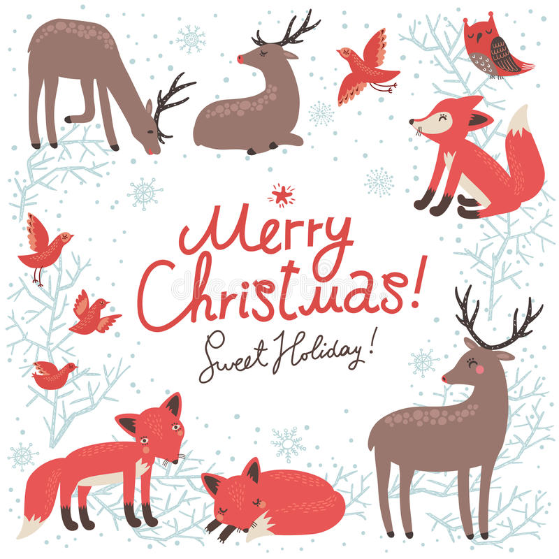 Νέα κάρτα έτους Χριστουγέννων με τα ελάφια και τις αλεπούδες διανυσματική απεικόνιση