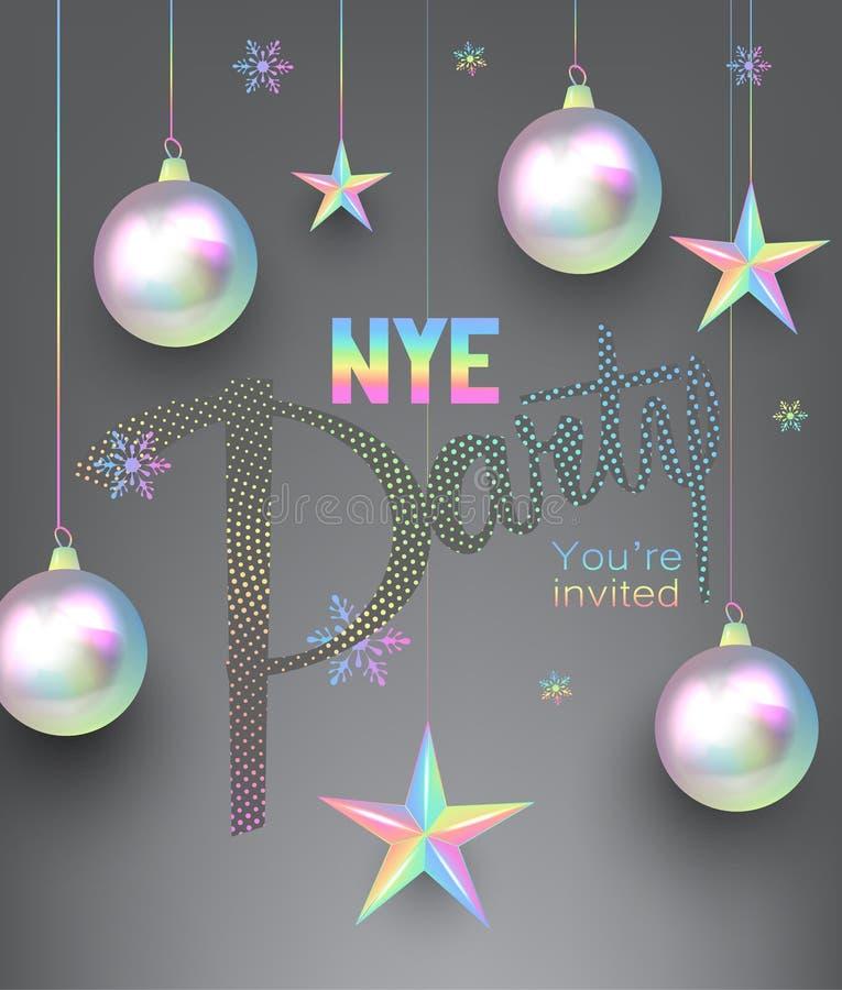 Νέα κάρτα πρόσκλησης κομμάτων έτους με χρωματισμένα τα μαργαριτάρι στοιχεία σχεδίου Χριστουγέννων ελεύθερη απεικόνιση δικαιώματος