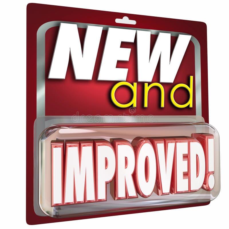 Νέα και βελτιωμένη αναπροσαρμογή συσκευασίας προϊόντων πιό πρόσφατη καλύτερα ελεύθερη απεικόνιση δικαιώματος