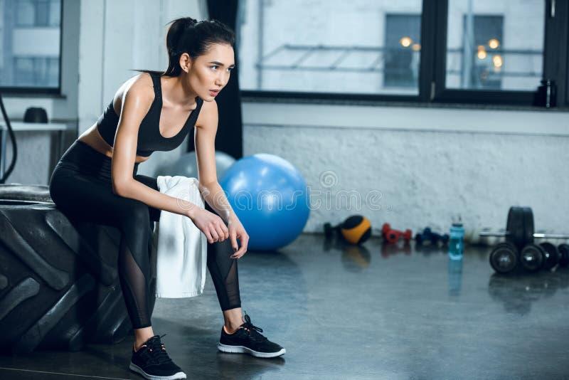 νέα κατάλληλη συνεδρίαση γυναικών στη ρόδα workout μετά από να εκπαιδεύσει στοκ εικόνες