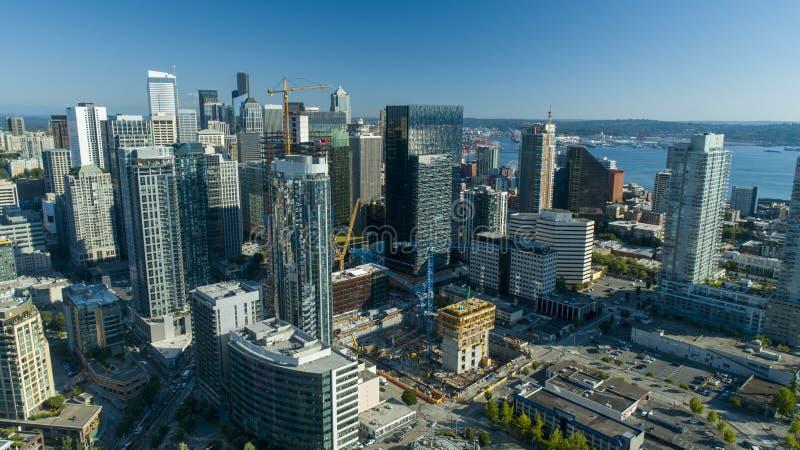 Νέα κατασκευή οριζόντων πόλεων του Σιάτλ αστική στοκ φωτογραφίες