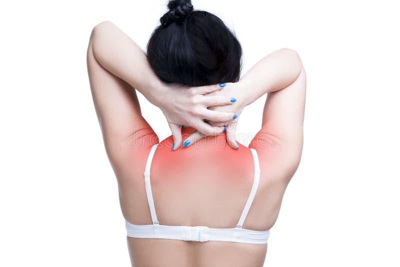 Νέα καυκάσια γυναίκα στο στηθόδεσμο με τον πόνο στους ώμους και λαιμός, πόνος στο ανθρώπινο σώμα, που απομονώνεται στο άσπρο υπόβ στοκ εικόνα