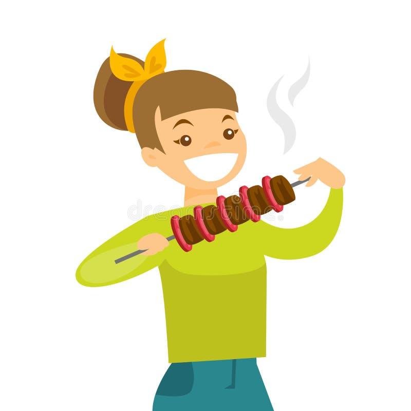 Νέα καυκάσια λευκή γυναίκα που τρώει shashlik διανυσματική απεικόνιση