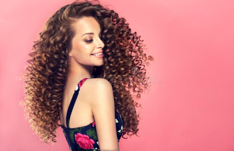Νέα, καφετιά μαλλιαρή γυναίκα με τις πυκνές, ελαστικές μπούκλες σε ένα hairstyle Πορτρέτο στο σχεδιάγραμμα στοκ εικόνα με δικαίωμα ελεύθερης χρήσης