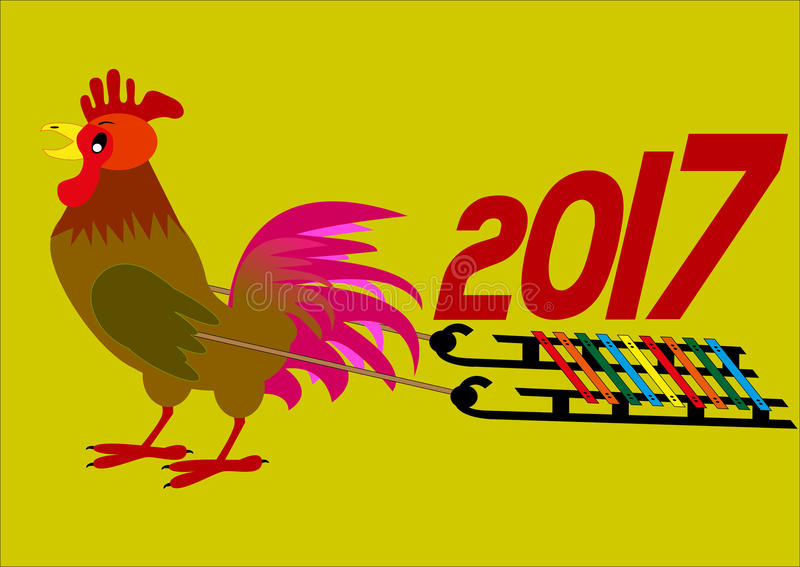 Νέα κινεζική έννοια έτους Κόκκορας που φέρνει το έτος του 2017 στη διανυσματική απεικόνιση ελκήθρων ελεύθερη απεικόνιση δικαιώματος