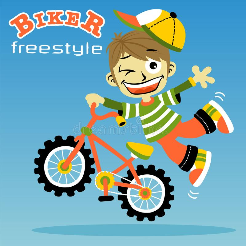 Νέα κινούμενα σχέδια ποδηλατών αγοριών απεικόνιση αποθεμάτων