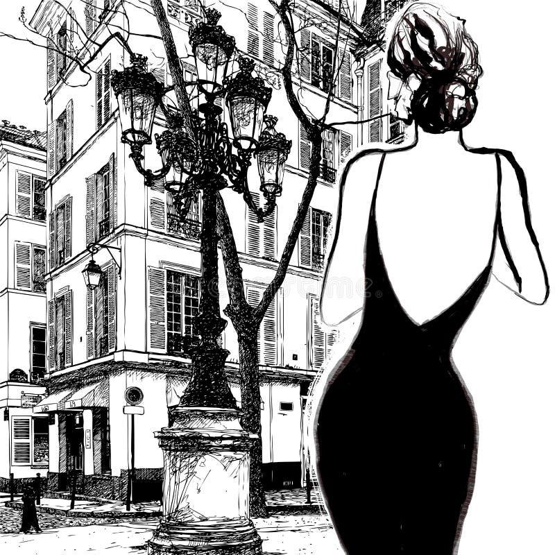 Νέα κομψή γυναίκα σε ένα μαύρο φόρεμα διανυσματική απεικόνιση