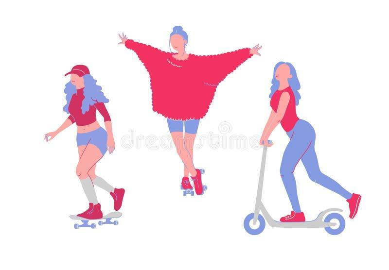 Νέα κορίτσια κινούμενων σχεδίων που κάνουν πατινάζ skateboard, κύλινδροι, μηχανικό δίκυκλο Διανυσματικό σύνολο χαρακτήρων διασκέδ ελεύθερη απεικόνιση δικαιώματος